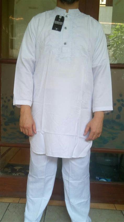 jual new product stelan baju koko pakistan putih bordir tangan panjang best quality di lapak