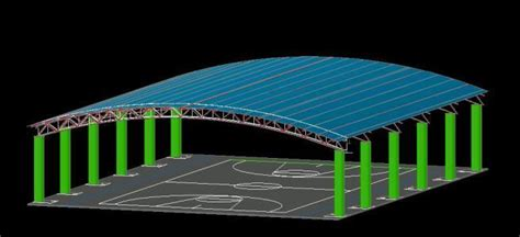 roofing basketball court  dwg model  autocad