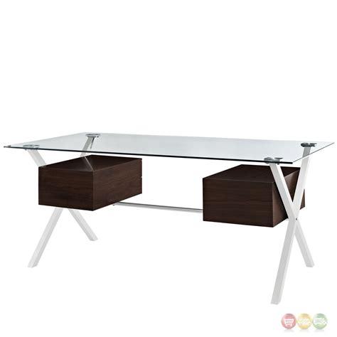 modern glass top desk abeyance modern glass top steel office desk with walnut