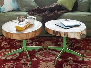 How to make an upcycled table from old log and a chair for Sliced log coffee table