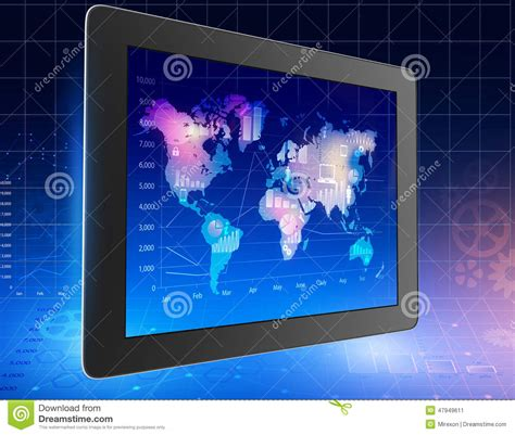 tablet  world map  located   icons stock image