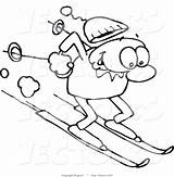 Skiing Slope Winter Happy Drawing Down Line Steep Cartoon Downhill Clipart Coloring Royalty sketch template