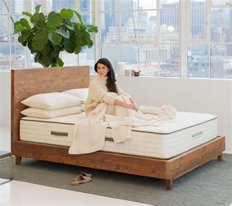 reclaimed natural wood bed frame avocado green mattress
