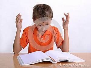 Frustrated Child With Learning Difficulties Stock Photo ...