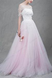 is037 beautiful white and blush pink two tones tulle ball With blush ball gown wedding dress