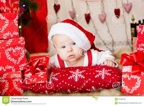 small baby in santa hat royalty free stock photo image