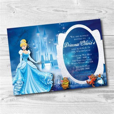 printable cinderella birthday invitation  designhouse