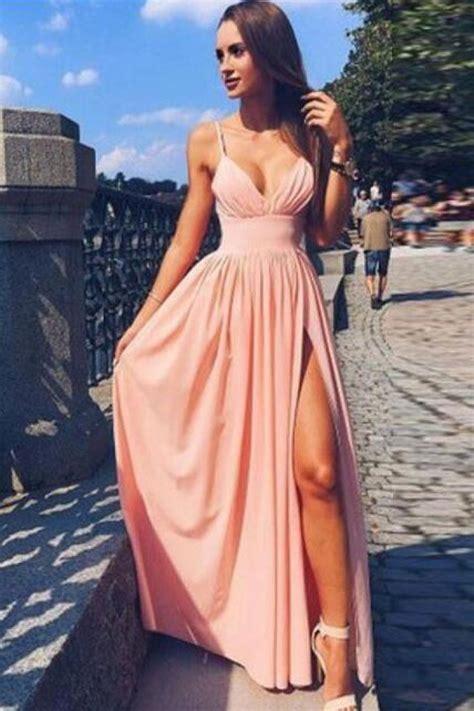 simple spaghetti strap  neck pink prom dress long evening