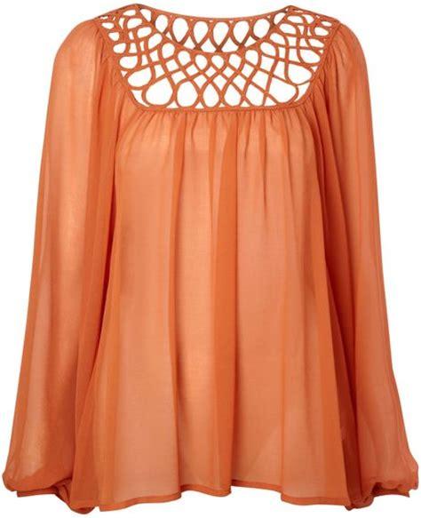 burnt orange blouse biba yoke detail sheer volume blouse in orange burnt