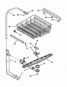 Upper Dishrack And Water Feed Diagram  U0026 Parts List For
