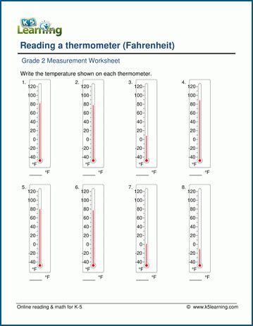 grade 2 temperature worksheets reading a thermometer