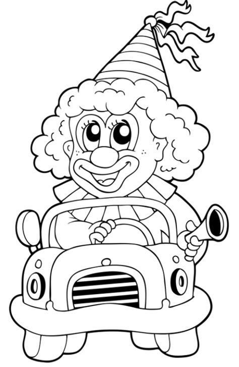 kostenlose malvorlage berufe clown im auto zum ausmalen