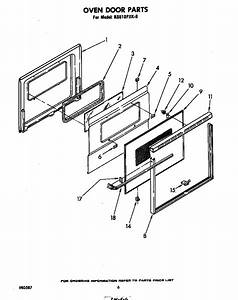 Oven Door Diagram  U0026 Parts List For Model Rs610pxk0
