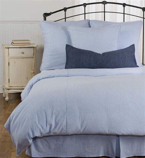 blue  white stripe seersucker duvet cover  stock