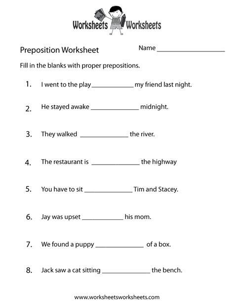 preposition test worksheet  printable educational