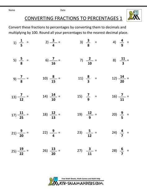 percent to decimal worksheets converting fractions to