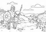 Coloring Goliath David Sunday Stones Bible Story Sheets App Slings Giant Unique Ic Strip sketch template