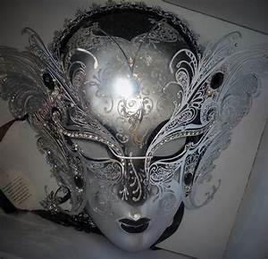 Luxury Venetian Full Face Masquerade Mask (Silver): Vafa Gifts