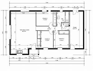 plan maison 4 chambres 130m2 With plans de maison en l 4 maison genille