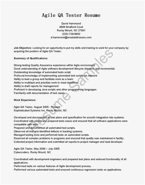 Qa Resume by Resume Sles Agile Qa Tester Resume