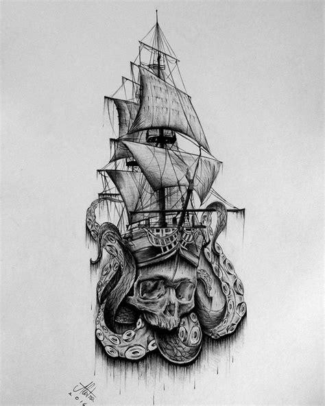 Skull Boat   Pirate skull tattoos, Pirate ship tattoos