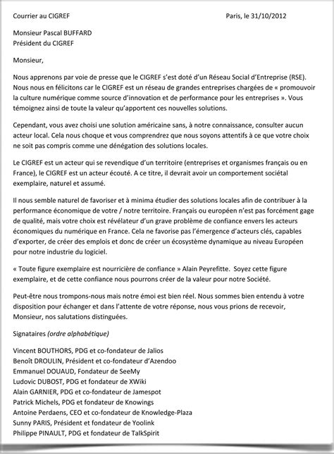 Comment Faire Un Cv En Franàçais Exemple by Sle Cover Letter Exemple De Lettre Ouverte Dans Un Journal