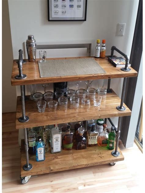 Diy Bar Furniture by Diy Industrial Bar Cart Diy Pipe Furniture Pipe