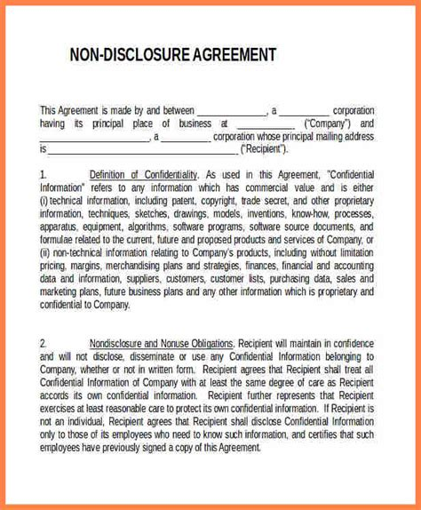 generic  disclosure agreement template purchase
