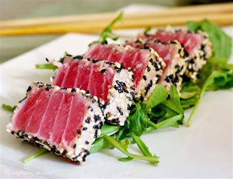 seared tuna pan seared sesame crusted tuna recipe dishmaps