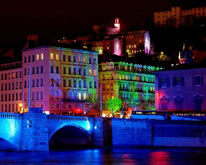 festival  lights light festival  lyon france fete