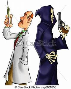 Stock Illustration of the duel for life - medic and death ...