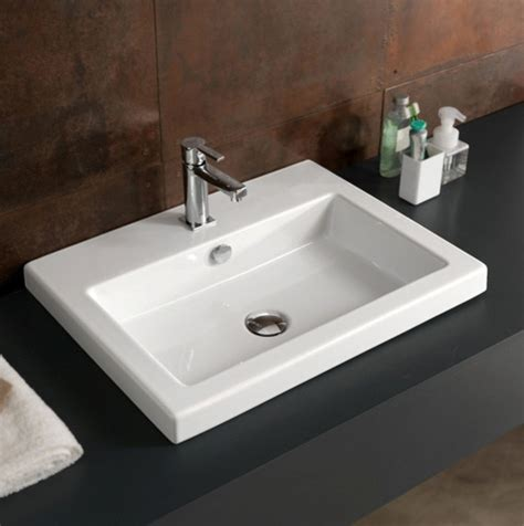 Rectangular Sinks Bathroom by Rectangular White Ceramic Wall Mounted Vessel Or Built