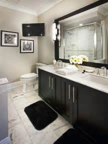 black bathroom cabinet ideas classic black and white bathroom with marble floor hgtv