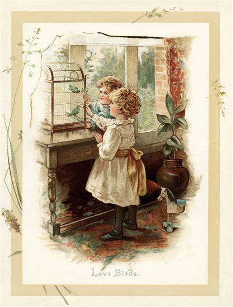love birds  vintage storybook illustration  design shop blog
