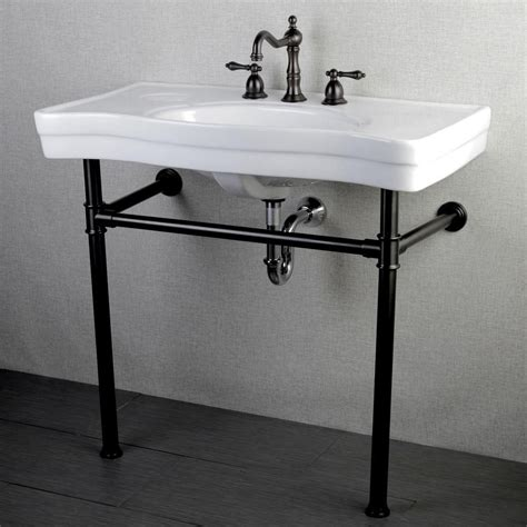 Bathroom Sink Metal Legs by Kingston Brass Console Table Combo In White With Metal