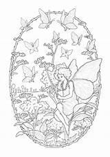 Fairy Coloring Adults Butterfly Butterflies Simple Printable Children Daffodil Flower Flowers sketch template