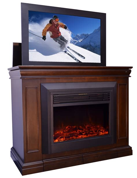 tv cabinet with fireplace the conestoga tv lift cabinet with electric fireplace for