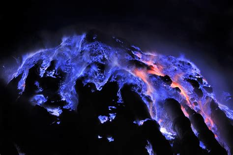 Stunning Electric-Blue Flames Erupt From Volcanoes