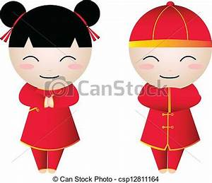 Clip Art Vector of chiness girl-boy happy - Chinese Girl ...