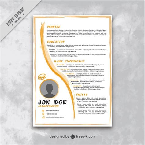 Artistic Resume Templates by Artistic Resume Template Vector Premium