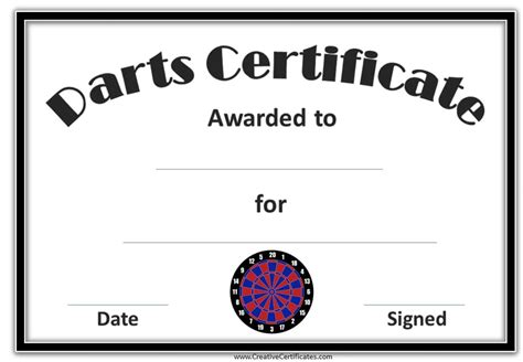 printable darts award customize   print