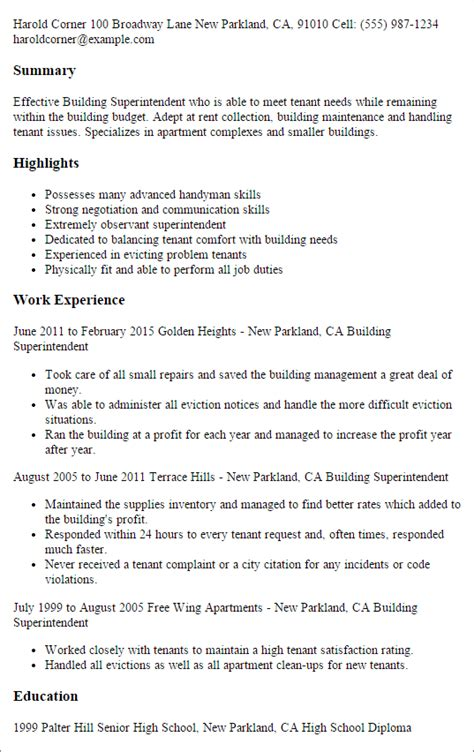 professional building superintendent templates to showcase
