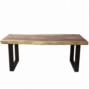 Table Bois Et Noir : table design bois de suar massif pieds noir mat en u 200cm ~ Dailycaller-alerts.com Idées de Décoration
