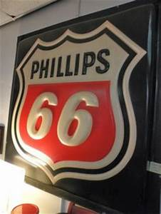 Old Phillips 66 Embossed Porcelain Neon Sign