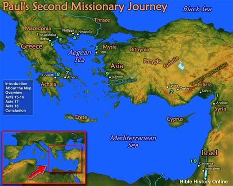 map  pauls  missionary journey bible history