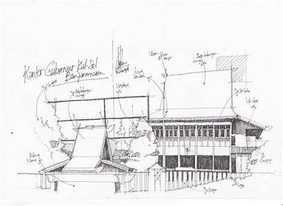 Kantor Kalsel Gubernur Sketch Architecture Lama