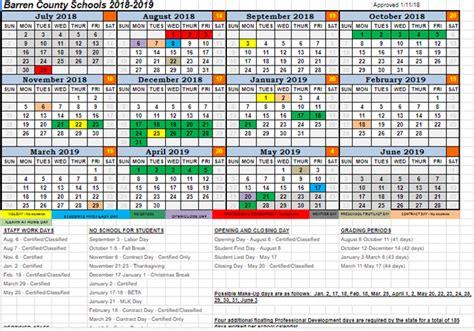 district calendar barren county school district