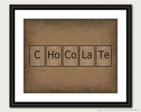 periodic table word poster chocolate wall art