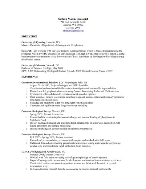 Geologist Resume by Resume Nathan Maier