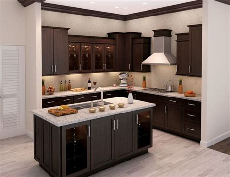 Wooden Kitchen Flooring Ideas by L Shaped Brown Wooden Kitchen Cabinet And Rectangle
